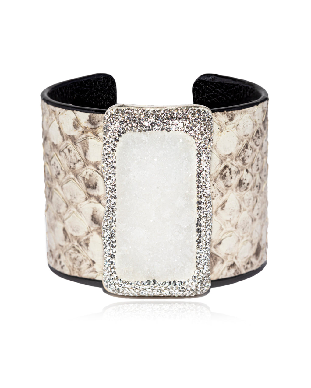 Exotic Statement Gem Cuff White Quartz, Crystal & Python