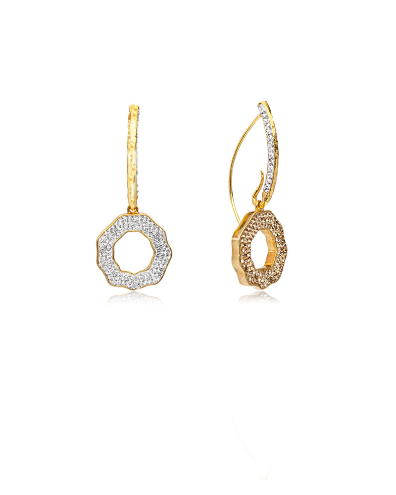 Duo Crystal Open Round Loops Crystal, Gold, Gold