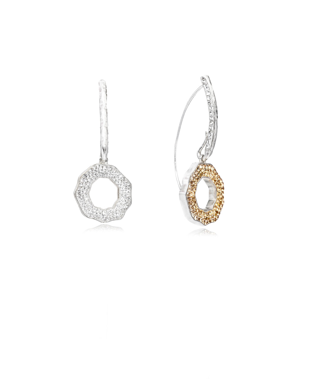 Duo Crystal Open Round Loops Gold, Crystal, Silver