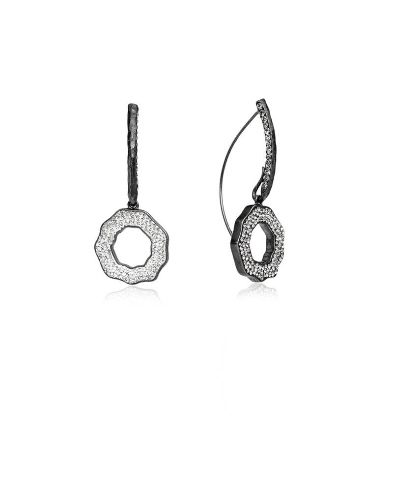 Duo Crystal Open Round Loops Crystal, Black Diamond, Black Rhodium