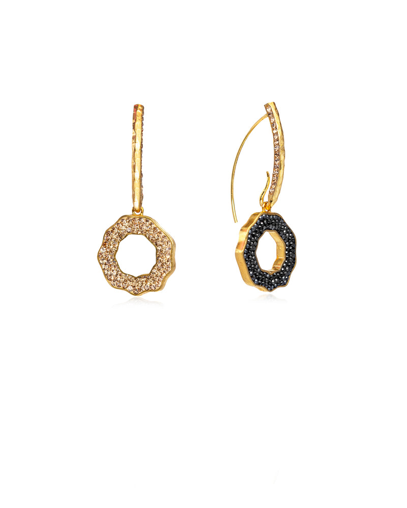Duo Crystal Open Round Loops Hematite, Gold, Gold