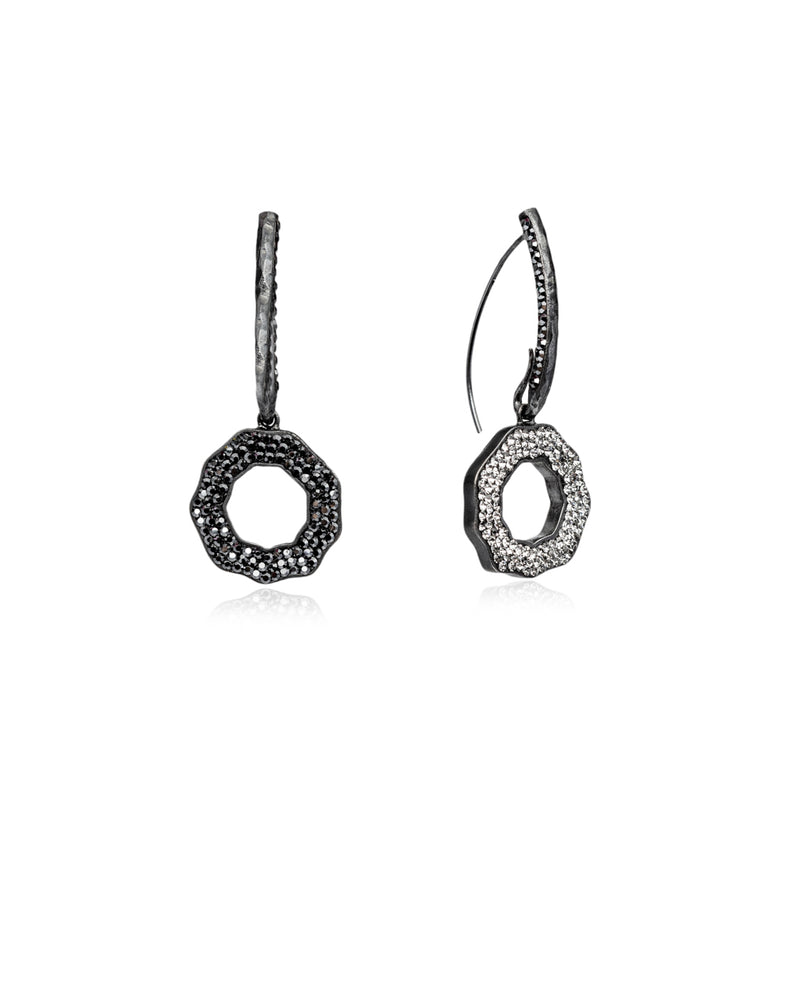 Duo Crystal Open Round Loops Hematite, Black Diamond, Black Rhodium