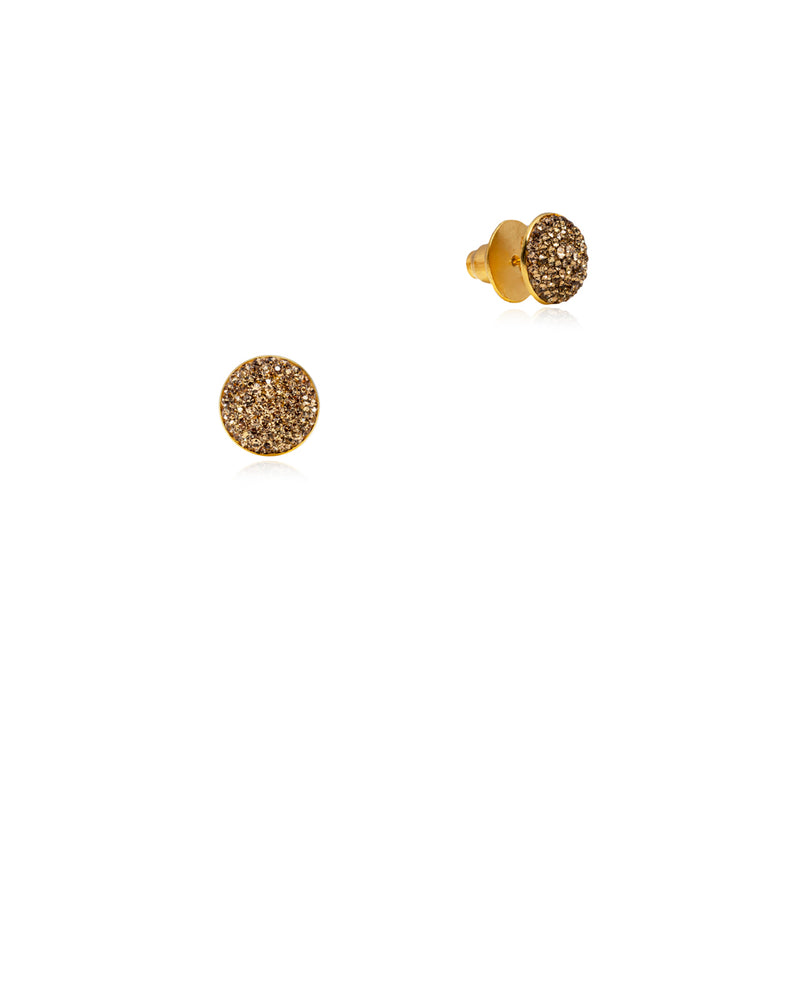 Crystal Round Studs All Gold & Gold