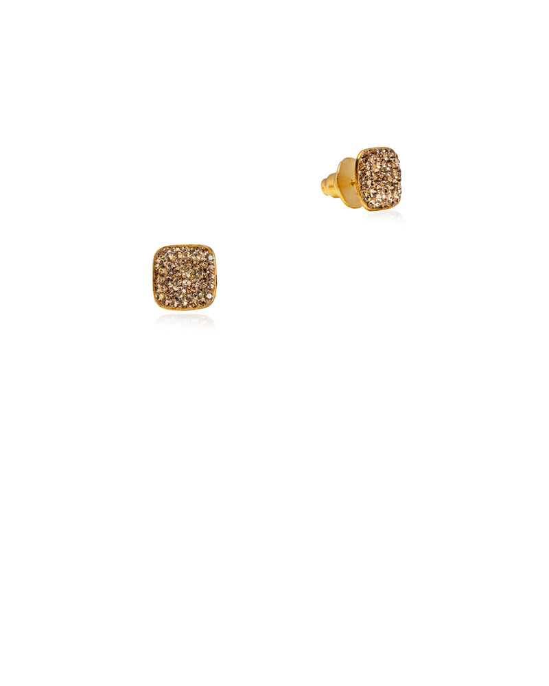 Crystal Square Studs All Gold & Gold