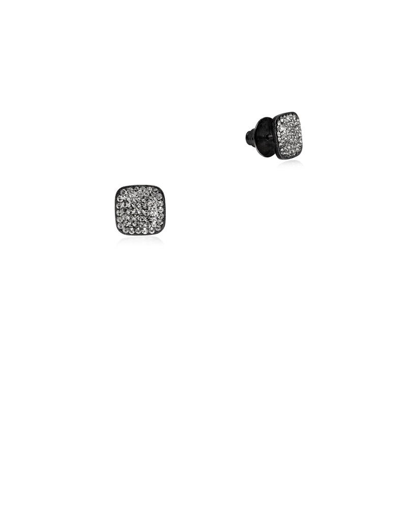 Crystal Square Studs Black Diamond, Crystal & Black Rhodium
