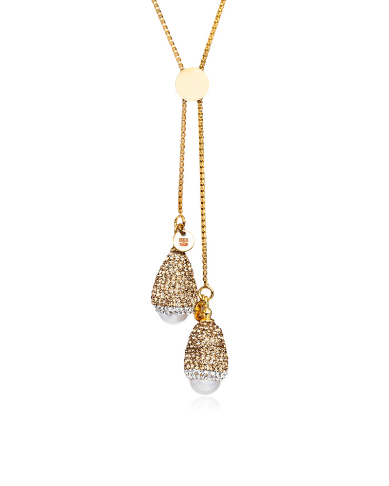 Dome Double Slide Lariat Baroque Pearl, Gold, Gold