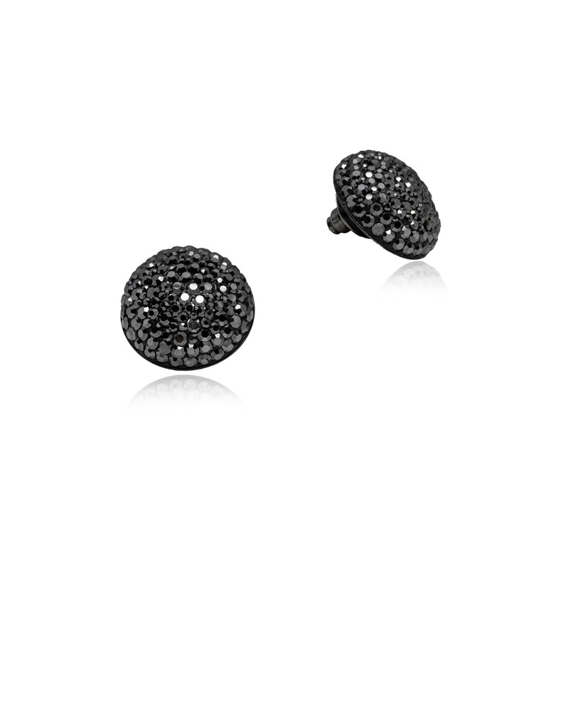 Crystal Grand Studs All Hematite & Black Rhodium