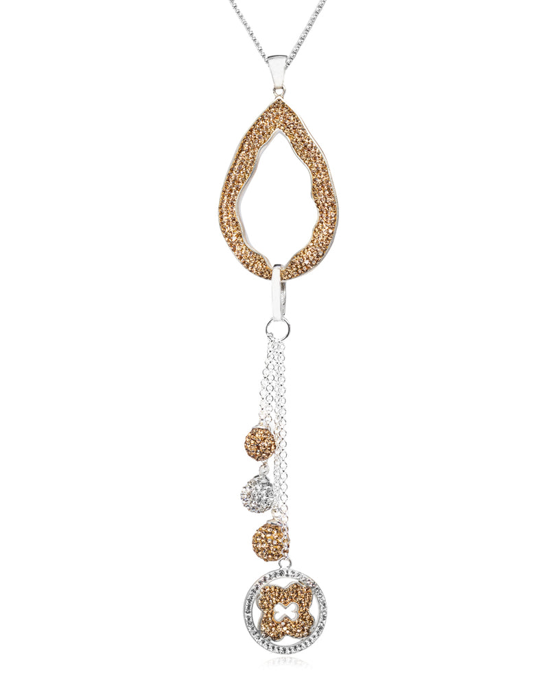 2Way Crystal Open Tear & Tassel N Gold & Silver