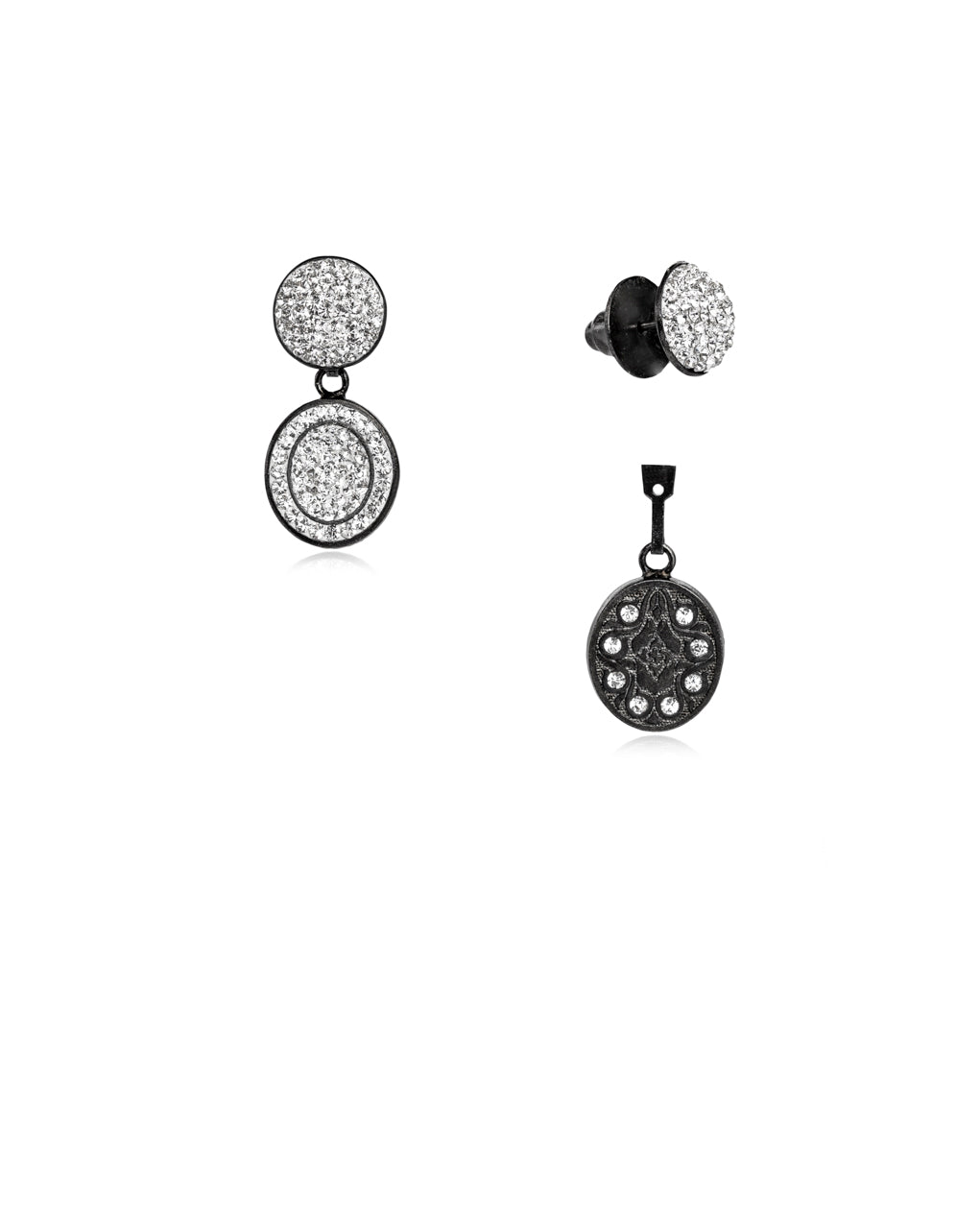 3Way Round & Crystal Oval Drop E Crystal & Black Rhodium