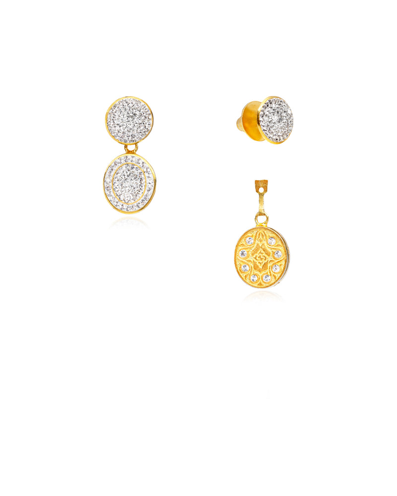 3Way Round & Crystal Oval Drop E Crystal & Gold
