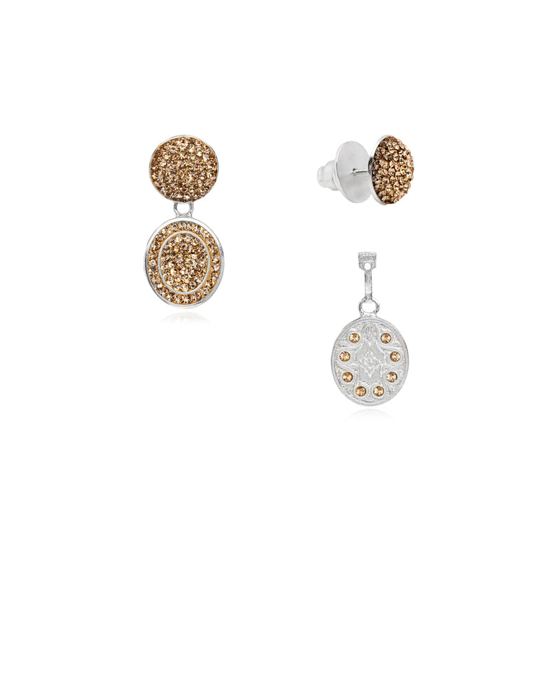 3Way Round & Crystal Oval Drop E Gold & Silver