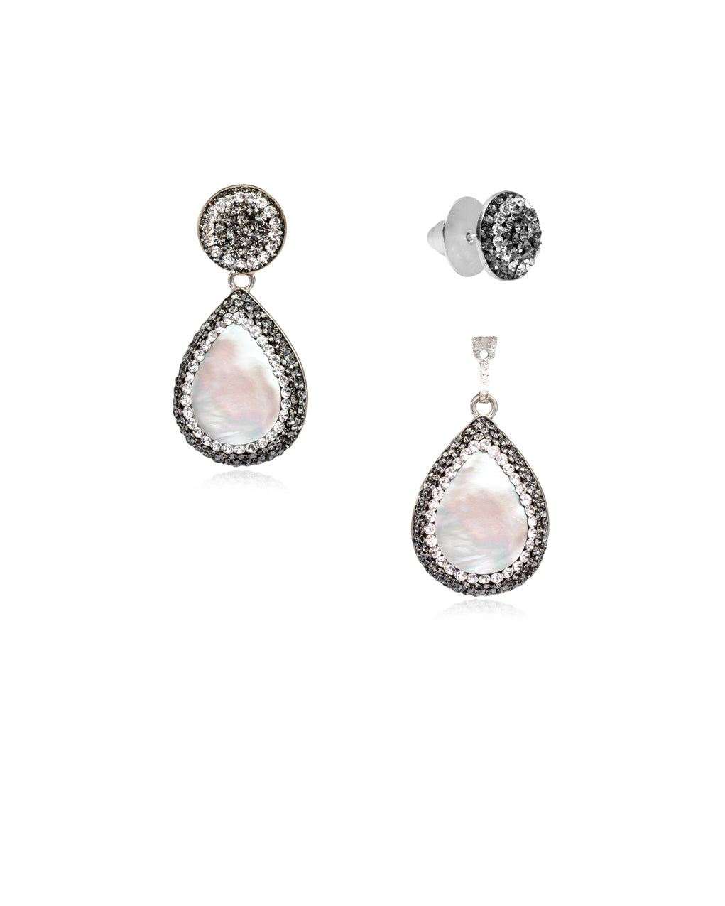 2Way Round Studs & Tear Gem E Baroque Pearl, Black Diamond & Silver