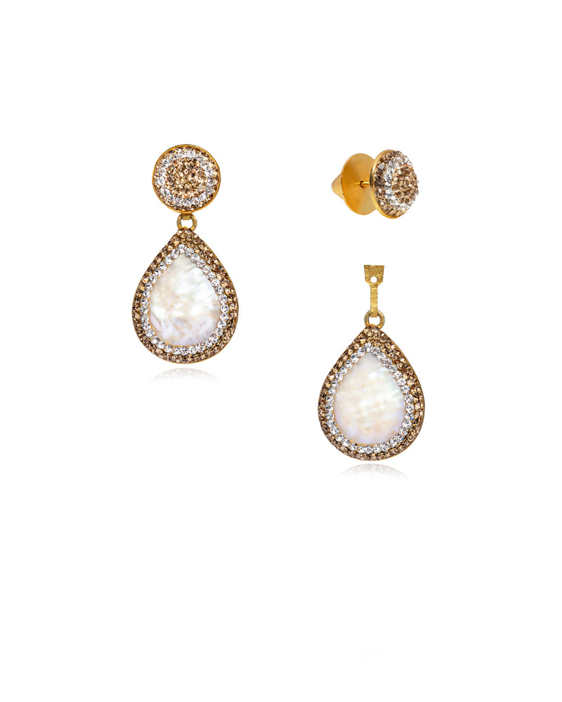 2Way Round Studs & Tear Gem E Baroque Pearl, Gold & Gold