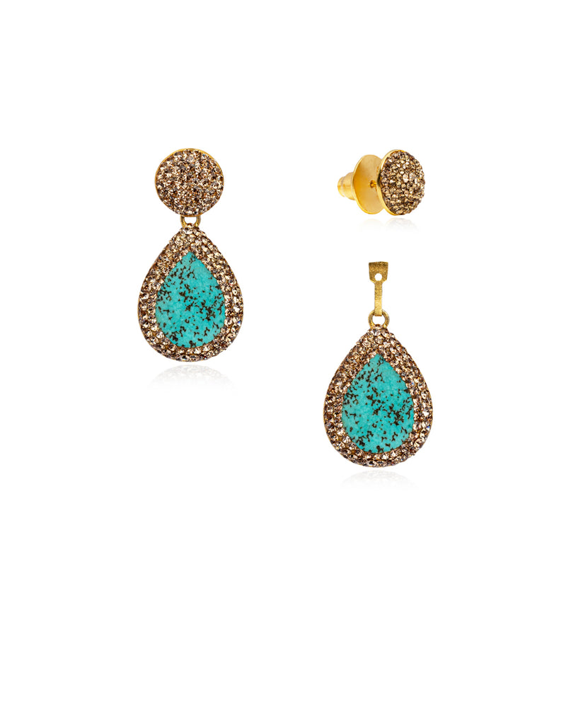 2Way Round Studs & Tear Gem E Persian Turquoise, Gold & Gold