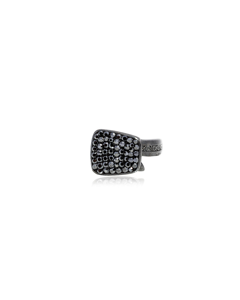 Endless Crystal Ring Hematite & Black Rhodium