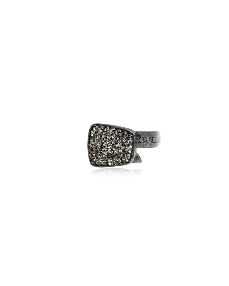 Endless Crystal Ring Black Diamond & Black Rhodium