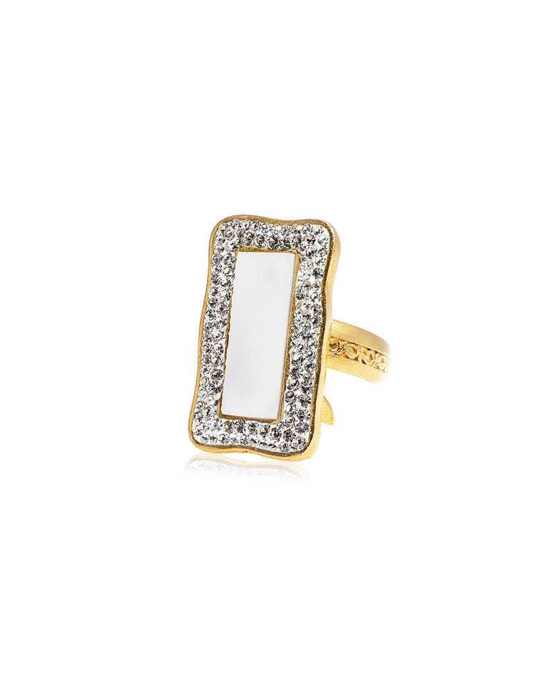 Halo Petite Rectangle Gem Ring