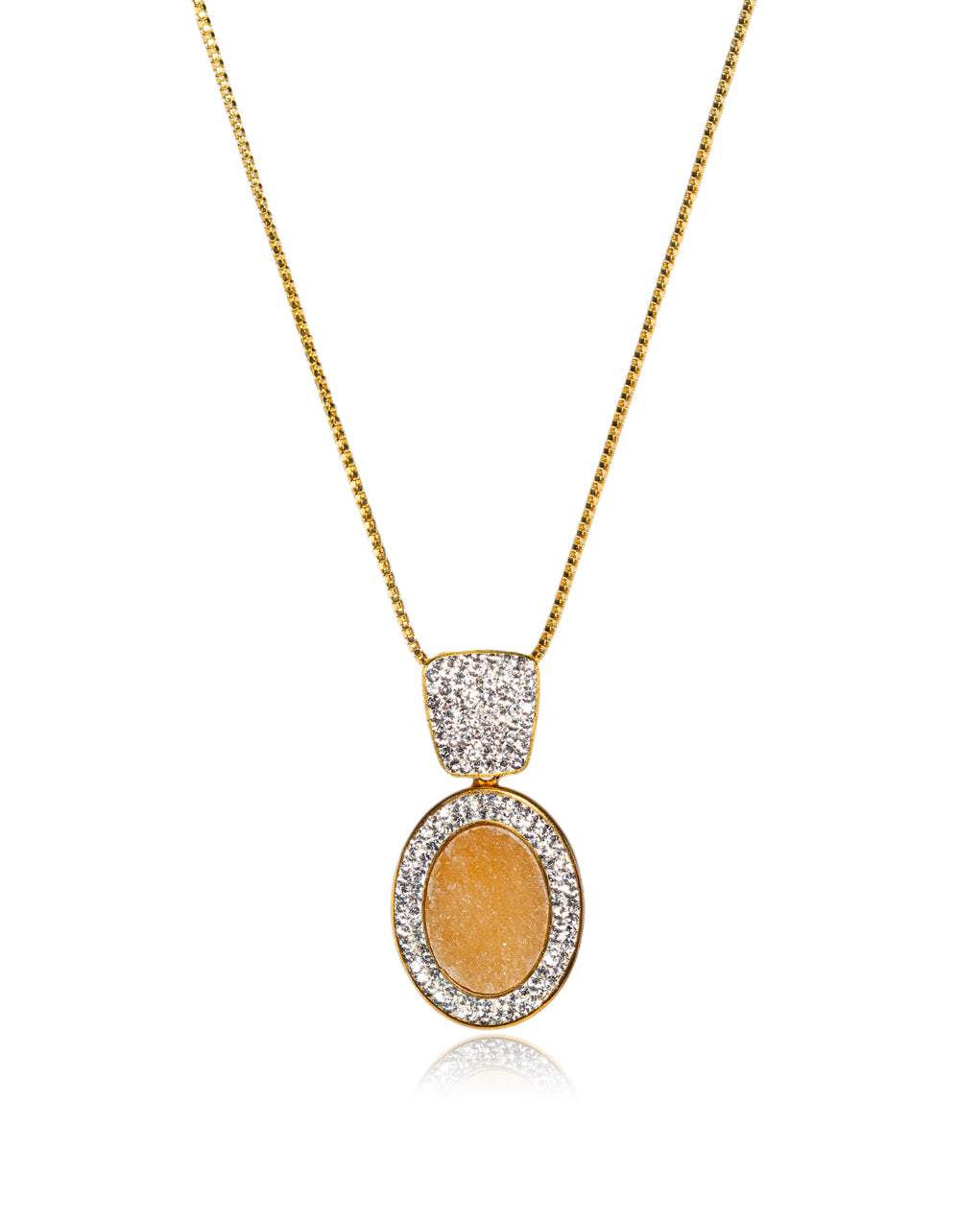 Endless Angular & Oval Gem Orange Calcite, Crystal & Gold Halo