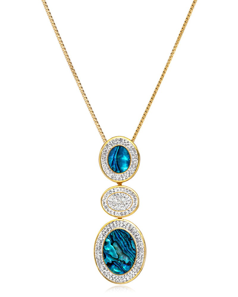 2Way Gem Cascade N Abalone, Crystal, Gold