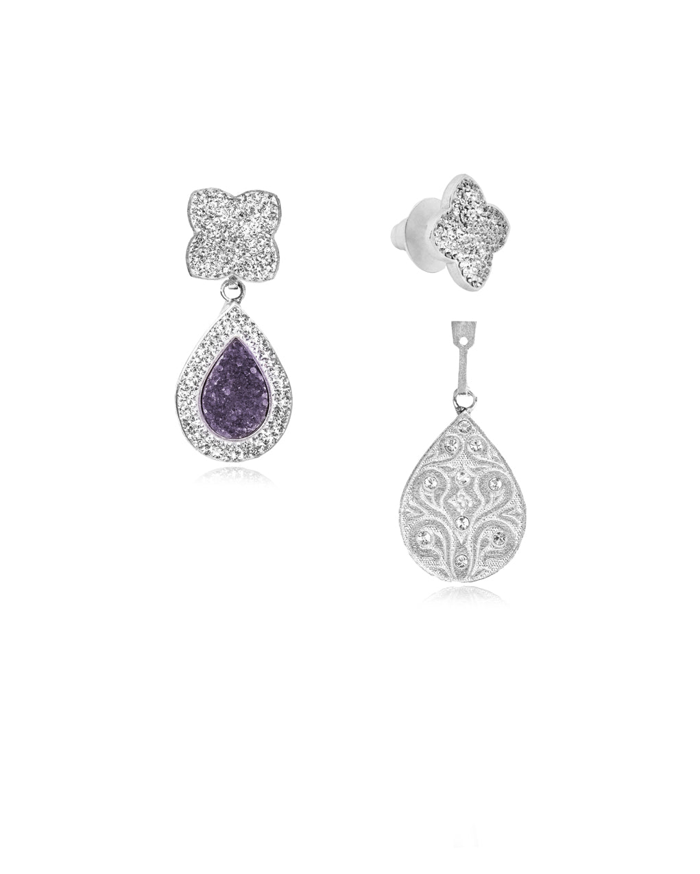 3Way Petite Logo & Tear Gem E Amethyst, Crystal, Silver