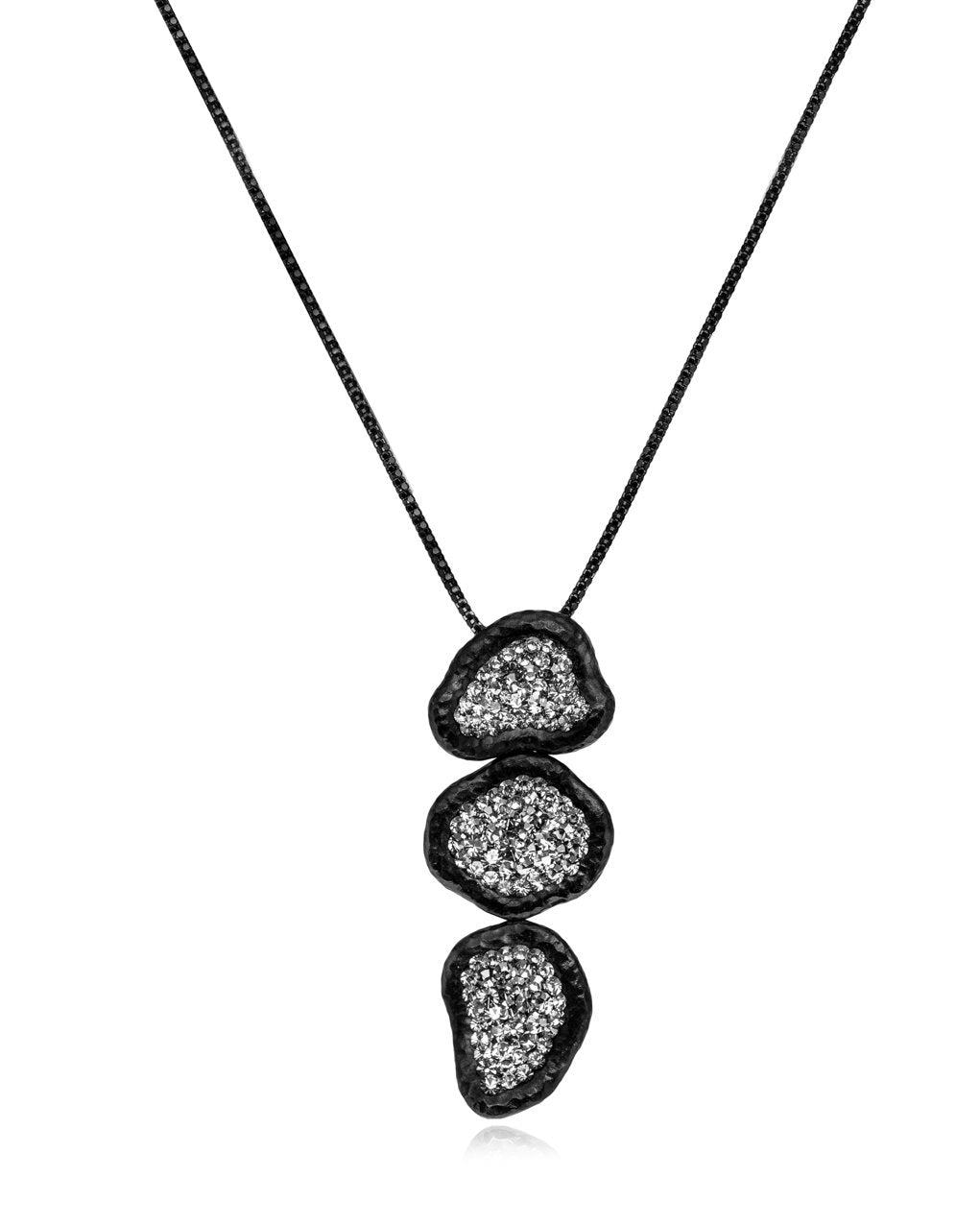 2Way 3tier Geode Cascade Black Diamond Rhodium
