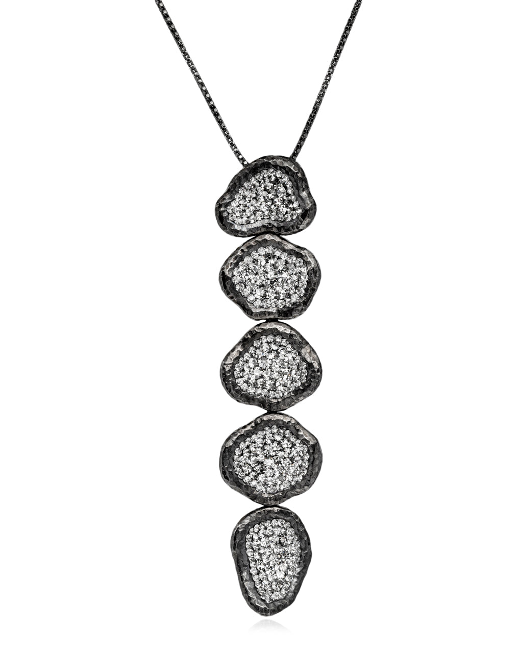 2Way 5tier Geode Cascade Black Diamond Rhodium