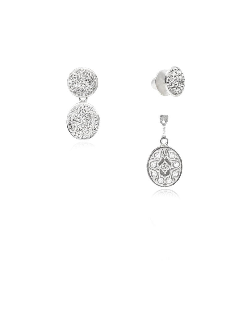 3Way Round & Crystal Oval Drop E Crystal & Silver