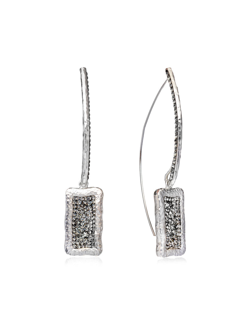 Statement Rectangle Crystal Loop Earrings
