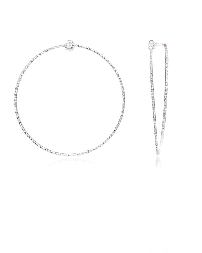 Diamond Cut Medium Hoops silver