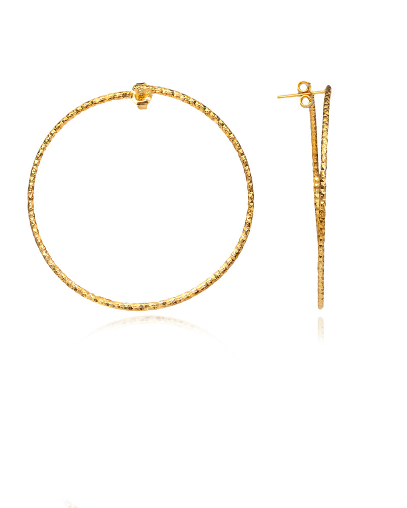 Diamond Cut Medium Hoops gold