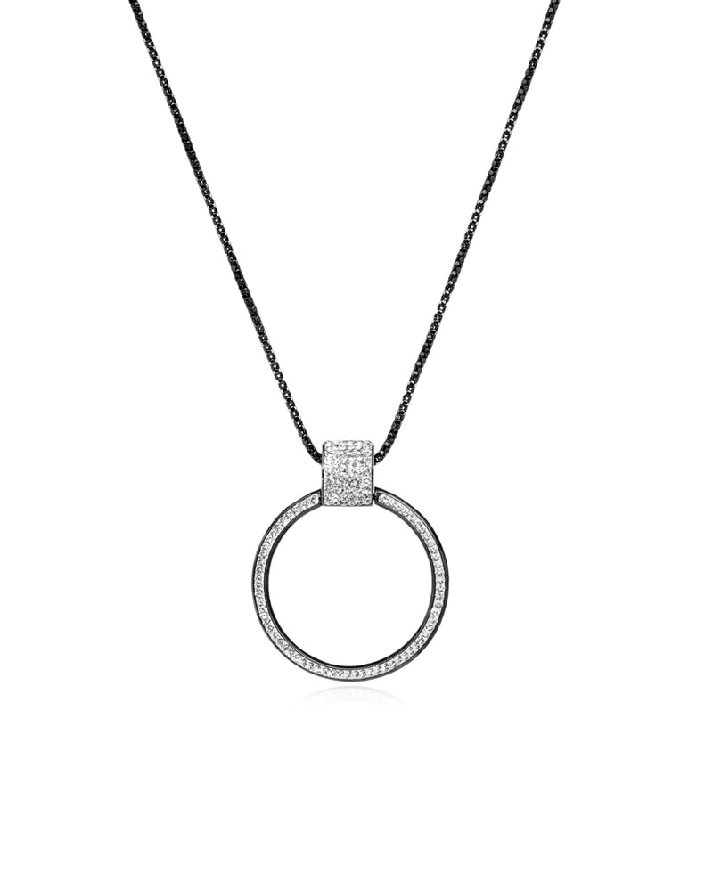 Eternity Pendant Necklace Crystal & Black Rhodium