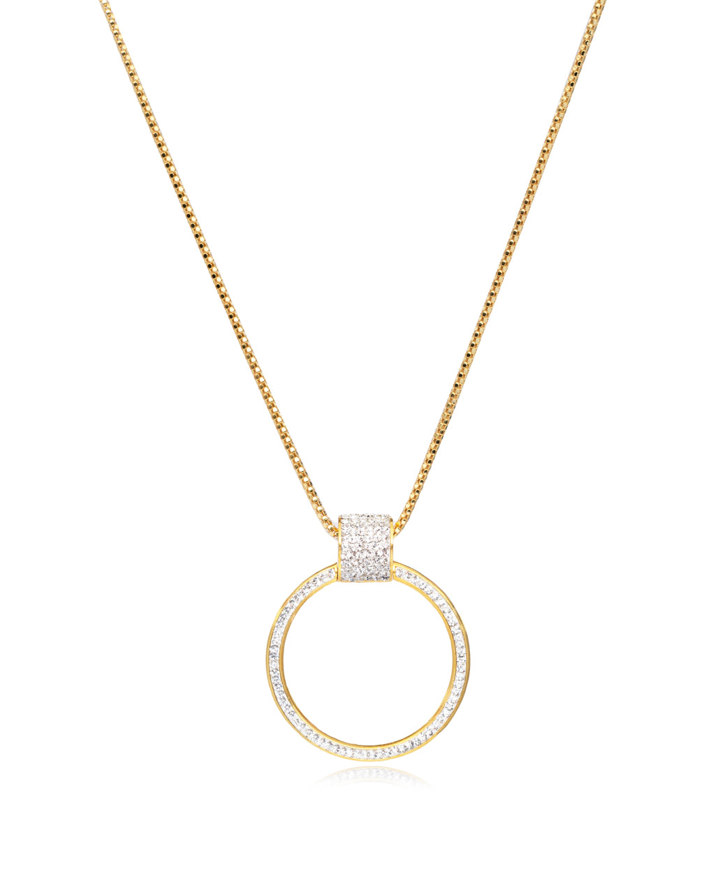 Eternity Pendant Necklace Crystal & Gold