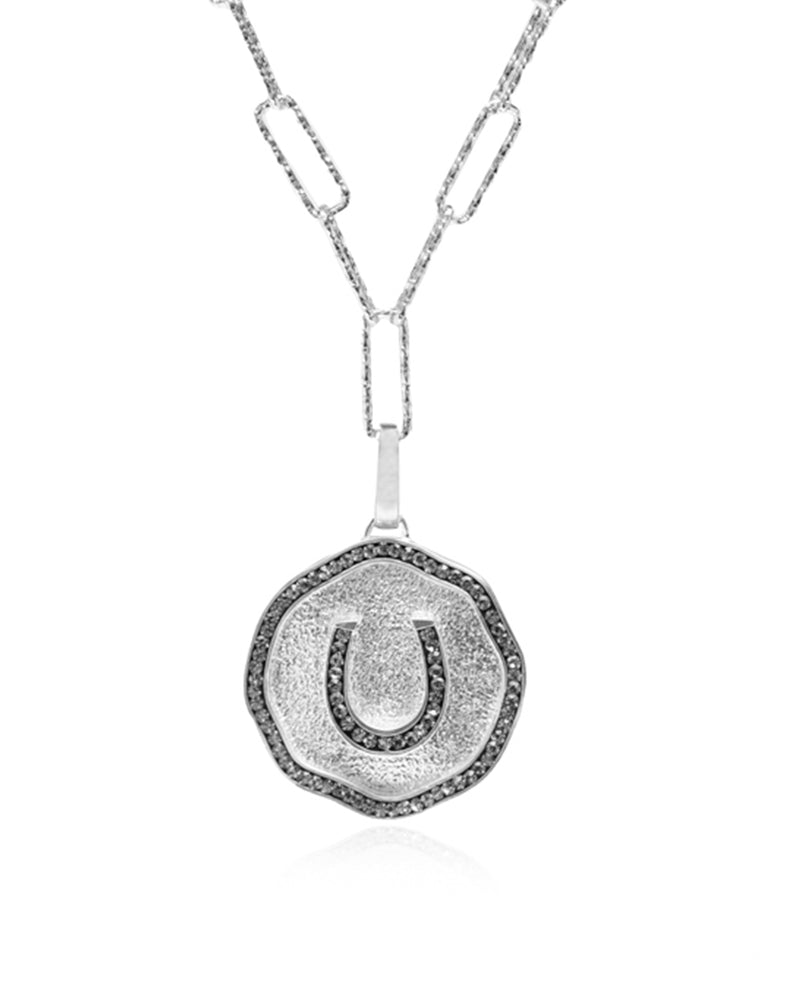 Lucky Derby Horseshoe Medallion Charm Necklace