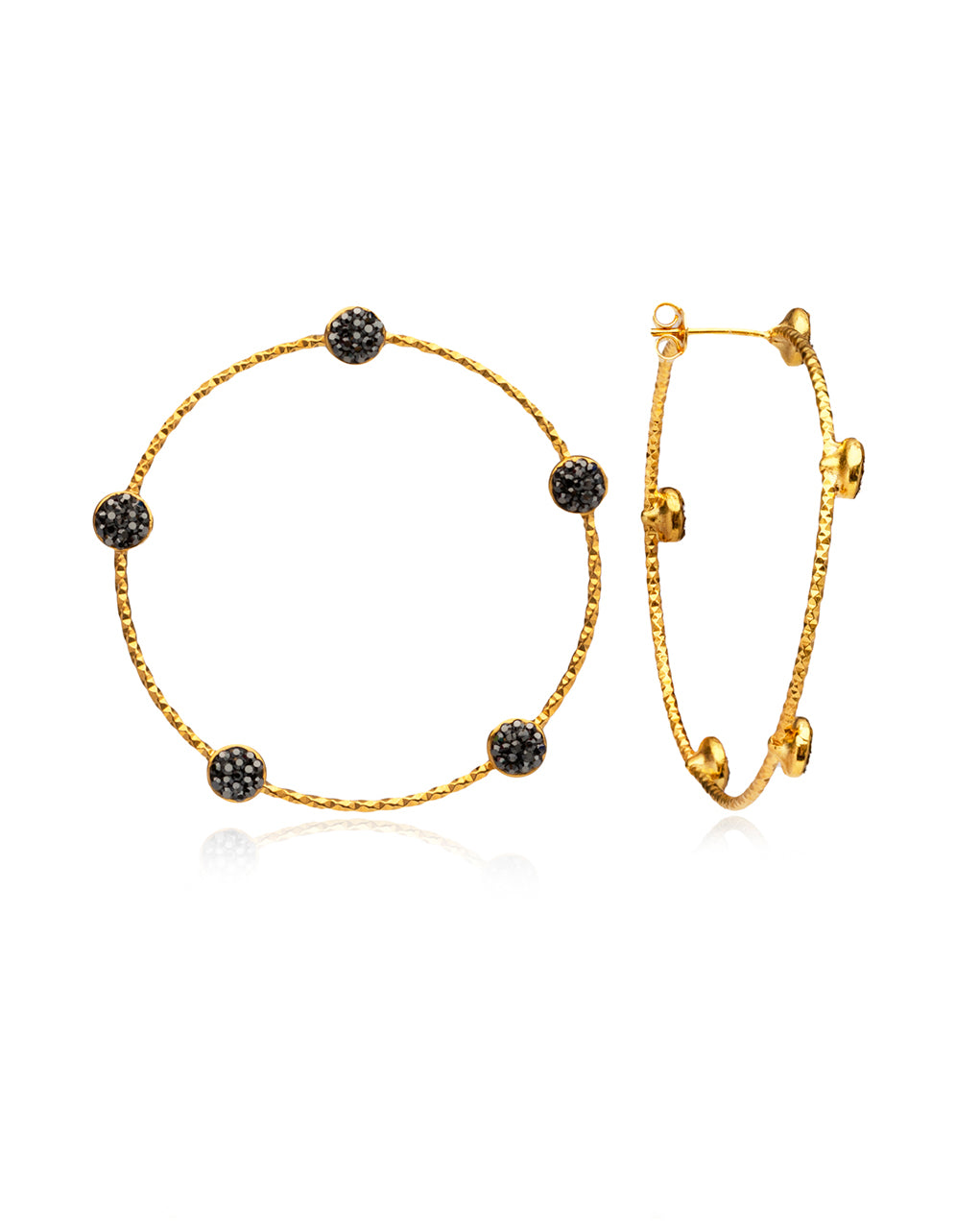 Multi Crystal Stud Medium Hoops