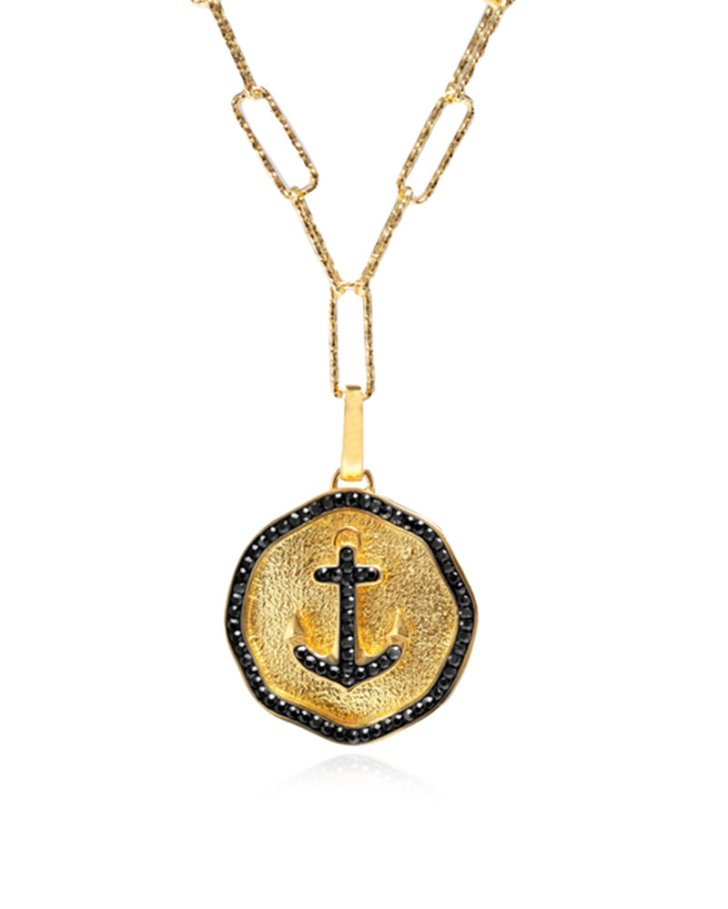 Bon Voyage Anchor Medallion Charm Necklace