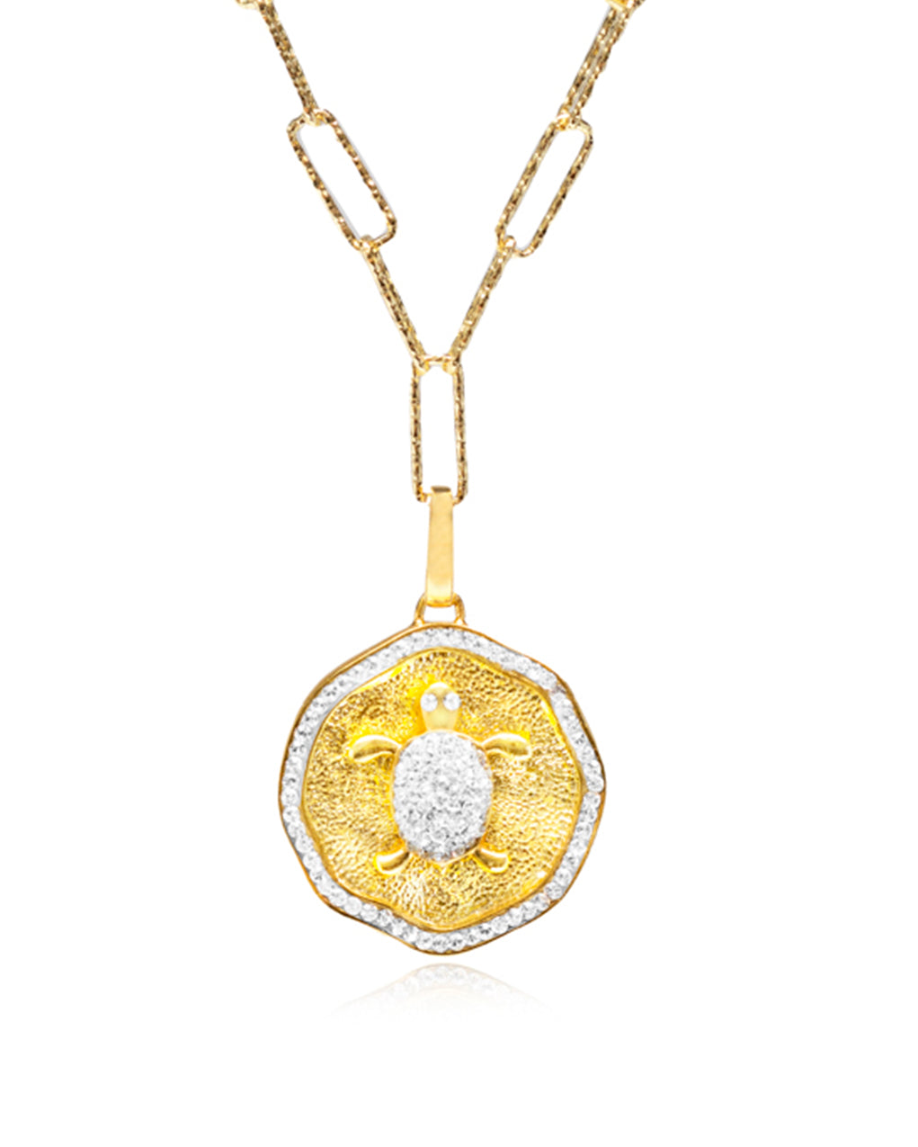 Turtle Crystal  Gold  Medallion Necklace