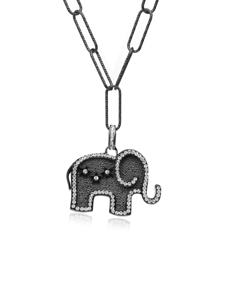 Mighty Elephant Medallion Charm Necklace