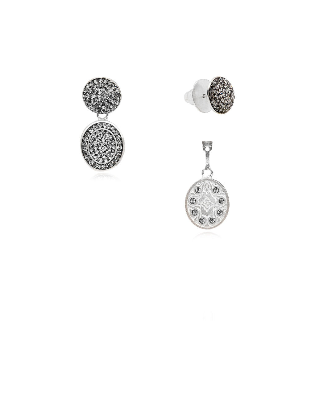 3Way Round & Crystal Oval Drop E Black Diamond & Silver