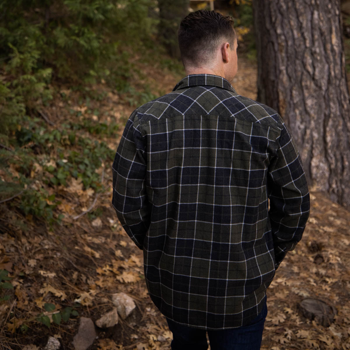 MIDNIGHT LONG SLEEVE FLANNEL-GREY/GREEN