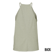 WOMENS HIGH NECK TANK - HEATHER STONE