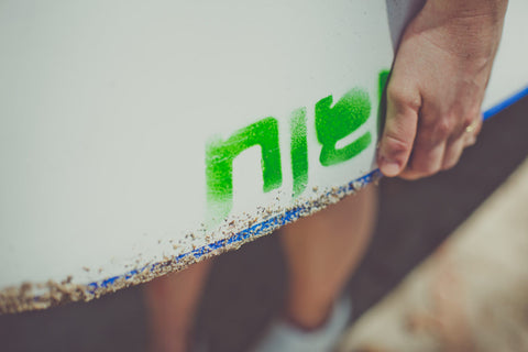 Close up of a surf board