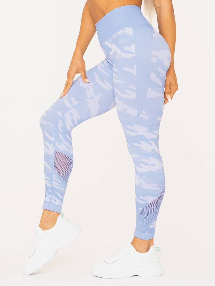 Camo Seamless High Waisted Leggings Blue