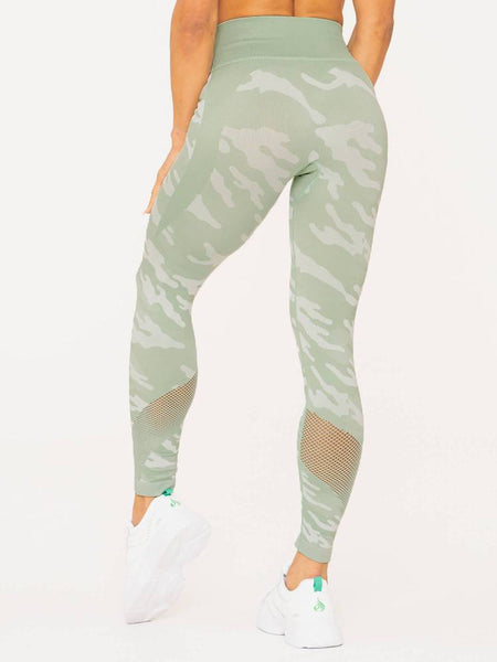 Camo Seamless High Waist Leggings Sage - Tonic UAE Camo Seamless High Waist Leggings Sage - Athletic Wear Ryderwear - tonic athletic apparel Tonic UAE - tonic UAE