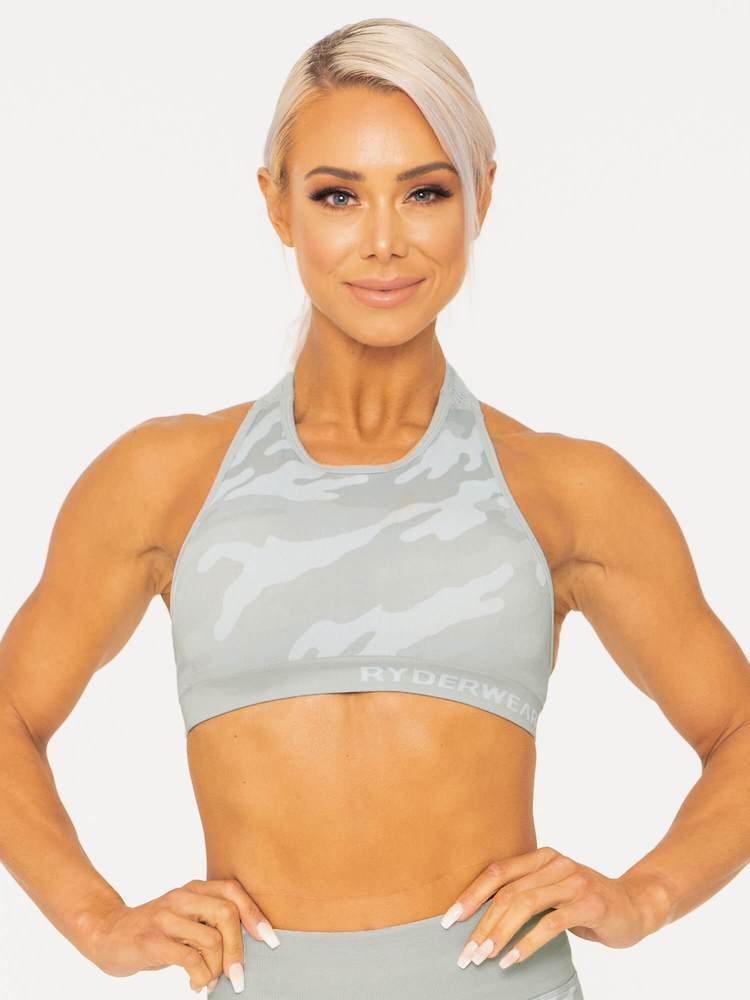 Camo Seamless Sports Bra Grey