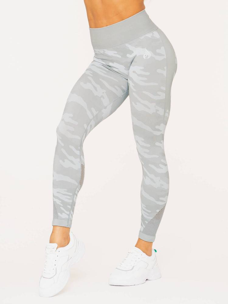 Camo Seamless High Waist Leggings Light Grey