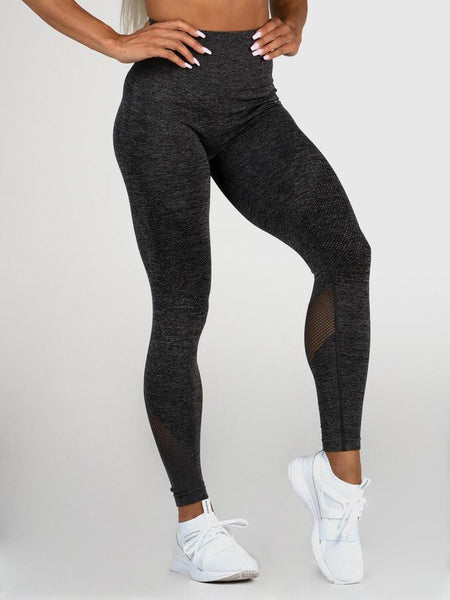 Seamless High Waist Leggings- Charcoal Marle - Tonic UAE Seamless High Waist Leggings- Charcoal Marle - Athletic Wear Ryderwear - tonic athletic apparel Tonic UAE - tonic UAE