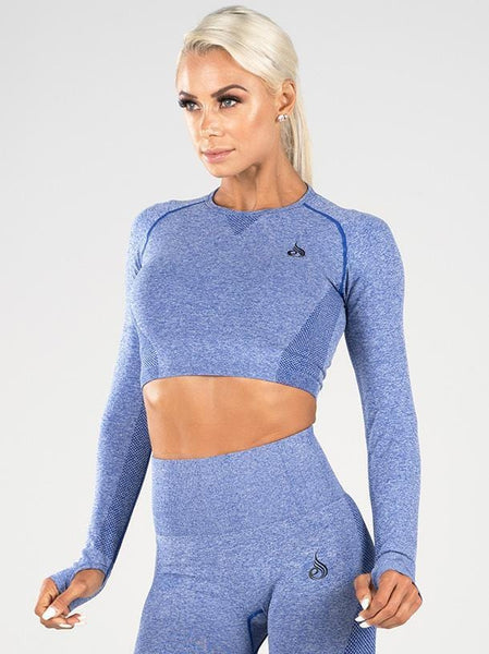 Seamless Long Sleeve Crop Blue Marle - Tonic UAE Seamless Long Sleeve Crop Blue Marle - Athletic Wear Ryderwear - tonic athletic apparel Tonic UAE - tonic UAE