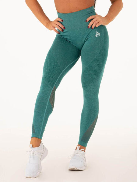 Seamless High Waist Leggings Emerald - Tonic UAE Seamless High Waist Leggings Emerald - Athletic Wear Ryderwear - tonic athletic apparel Tonic UAE - tonic UAE