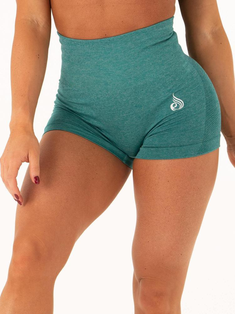 Seamless High Waist Shorts Emerald - Tonic UAE Seamless High Waist Shorts Emerald - Athletic Wear Ryderwear - tonic athletic apparel Tonic UAE - tonic UAE