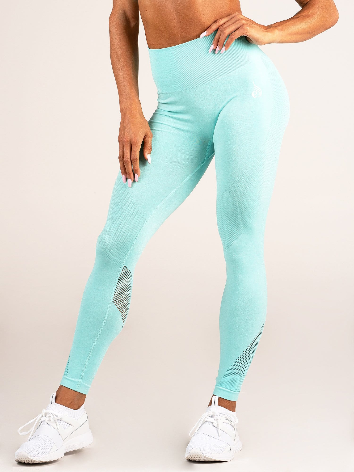 Seamless High Waist Leggings Aqua Marl - Tonic UAE Seamless High Waist Leggings Aqua Marl - Athletic Wear Ryderwear - tonic athletic apparel Tonic UAE - tonic UAE